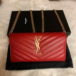 Preowne YSL Red Matelasse Wallet on Chain